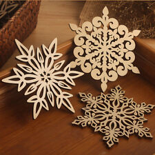 Carved Wood Wooden Snowflake Coaster Drinks Cup Mat Coasters Natural