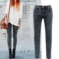 Women Sexy Casual Skinny Tights Pencil Denim Jeans Pants Trousers Size 2 4 6 8