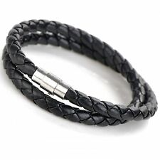 BUY 1 GET 1 FREE!!! Double Wrap Leather Stainless Steel Wristband Bracelet A5
