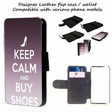 Keep Calm and Buy Shoes -  iphone 4,5,c,s Leather Phone Cover Case Wallet Cards