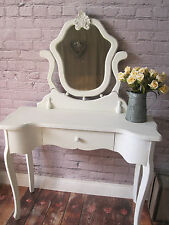 Shabby Chic Dressing Table with/without Mirror Antique White Crackle Effect