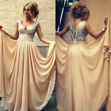 Long Chiffon Evening Formal Party Ball Gown Prom Bridesmaid Dress Wedding