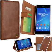 Genuine Leather 2in1 ID CARD Wallet Magnet Cover Case For Sony Xperia Z2 L50w