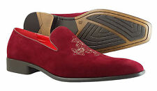 New Men's Loafers and Slip on Slipper Burgundy Suede Shoes