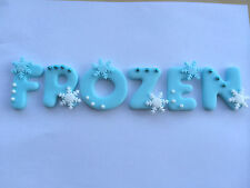 FONDANT ICING 5CM   FROZEN  STYLE -  ANY NAME & AGE  WITH SHIMMER SNOWFLAKES
