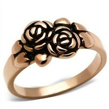 Rose Gold-tone Plated Carved Roses Fashions Ring (F5N4)