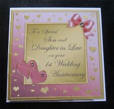 Special Son & Daughter In Law 1st Wedding Anniversary Card - 4 Colours