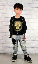 Kids Unisex Jeans Studs Crucifix Applique Design Fashion Denims Pants Size 4-13