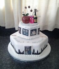 City Skyline Silhouette Pre Cut Edible Icing / Frosting Cake Ribbon / Border