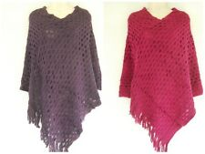 Solid Knit Criss Cross Pattern Fringe Outerwear Shawl Cape Sweater Poncho
