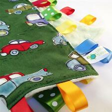 GREEN VINTAGE CARS ~ Baby Security Blanket Toy + FREE Dummy/Taggie/Sophie Saver