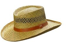 New Dorfman Pacific Mens Rush Straw Lightweight Casual Wide Brim Gambler Hat
