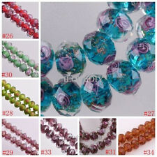 Hot 10pcs Flower Inside Faceted Rondelle Loose Lampwork Glass Spacer Beads