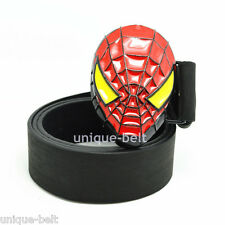 New Faux Leather Mens Superhero Spider-Man Metal Belt Buckle Red Yellow Cosplay