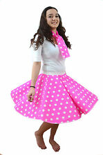 ADULT 50s ROCK N ROLL POLKA DOT DANCE CIRCLE SKIRT FANCY DRESS COSTUME GREASE