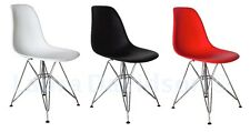 Set of 2 - Mid Century Modern Eames Style Eiffel DSR Molded Plastic Side Chairs