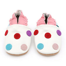 Dotty Fish Soft Leather Baby Girls Shoes - White Spotty - Newborn to 2-3 Years