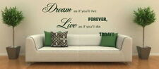 Dream As If You Motivational Quote Big Inspirational Wall Quote Sticker niq2