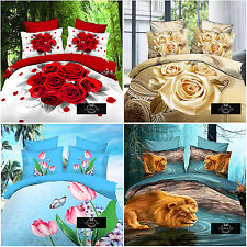 4 Pieces Fashion Cotton 3D Flowers Bedding Sets Shams Sheets Duvet Cover SJTb6