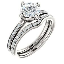 1ct Forever Brilliant Moissanite & diamond 14K White Gold Engagement Ring Set