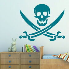 SKULL AND CROSSBONES BONES PIRATE WALL ART DECAL giant tattoo picture print RA61