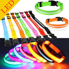 LED Light Up Dog Pet Night Safety Collar Bright Flashing Adjustable Nylon Collar