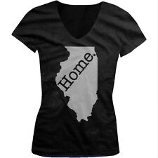 Home Illinois Prairie State Pride Land of Lincoln Chicago Juniors V-neck T-shirt