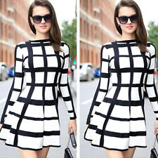 Womens Winter New Celebrity Style Fashion Long Sleeve Plaids Wool Blend Dress