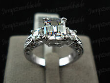 SALE : 18k White gold 3 ct Emerald cut Diamond Ring