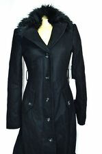 BEBE coat jacket wool black long maxi Faux Fur 185142 x smal