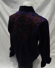 House of Lords Tribal Cross Stone Button Down Dress Shirt Purple Roar With Class