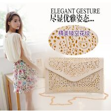Fashion Chain Women Envelope Clutch Handbag Laser Cut Evening Purse Shoulder Bag