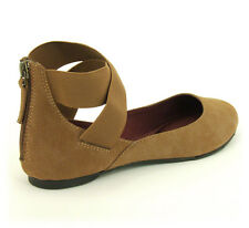 Vegan Eco Friendly Ballerina Flat Ultra Suede Shoes by Neuaura Camel 6 7 8 9