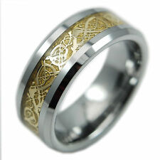 18k Gold Celtic Dragon Solid Tungsten Carbide Men's Ring Wedding Band Sizes 8-14
