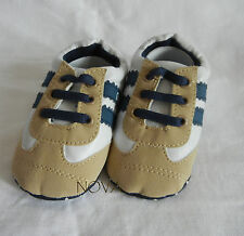 Beige blue stripe boy sport casual  toddler baby boy leather shoes US size2,