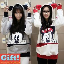 New Girls Men Mickey Minnie Mouse Ears Top Jumper T-shirt Hoodies Sweatshirt
