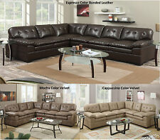 New Modern Sectional Sofa Couch Reversible Loveseat Contemporary Leather /Velvet