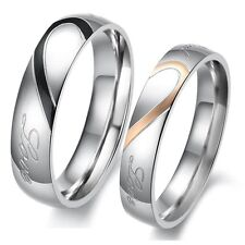 Lovers Promise Ring A Heart Shape Matching Titanium Steel Couple Wedding Lover J