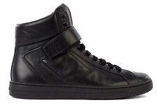 PRADA MEN'S SHOES HIGH TOP LEATHER TRAINERS SNEAKERS NEW BLACK  480