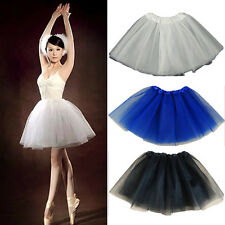 Women Stretchy Tulle Dress Solid Color Mini Tutu Bubble Skirt Cocktail