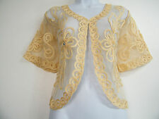 FAB GOLD BEIGE LACY LACE SHRUG JACKET BRAND NEW SIZE 12 14 16 18 20 22