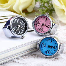 Womens Funny Popular Steel Round Dial Stylish Elastic Quartz Finger Ring Watch