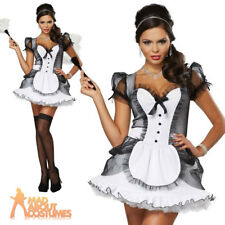 Adult Luxe French Maid Costume Sexy Deluxe Ladies Fancy Dress Outfit New
