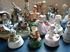 MUSIC BOXES - CERAMIC FIGURINES unglazed revolving   chose from drop-down menu