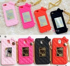 Hello Kitty plaid Silicone Rubber Chain Case For Iphone 6 4/5s Samsung NOTE2/3