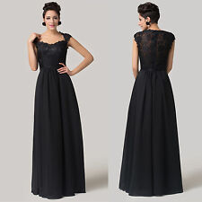 Lace Black Noble Chiffon Homecoming Ball Gown Evening Prom Party Wedding Dresses