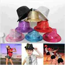1x Unisex Boy Girl Dance Show Accessory Sequins Hat Party Club Jazz Fedora Caps