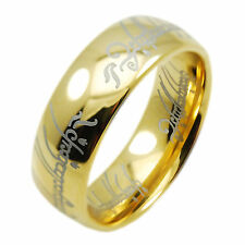18k Gold IP Hobbit Lord of the Rings Tungsten Carbide One Ring Wedding Band New