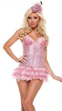 Sexy Womens Pink Sequin Flamingo Burlesque Corset Feather Showgirl Costume S L