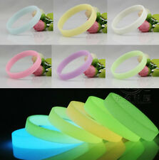Hot Fashion Charm GLOW IN THE DARK Silicone Rubber Wristband Wrist Band Bracelet